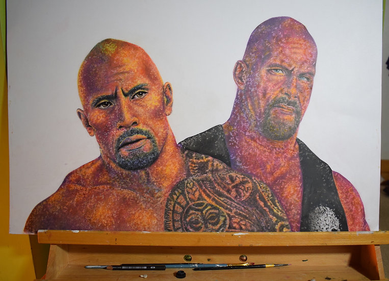 THE ROCK AND STONE COLD STEVE AUSTIN COLOURED PENCIL DRAWING