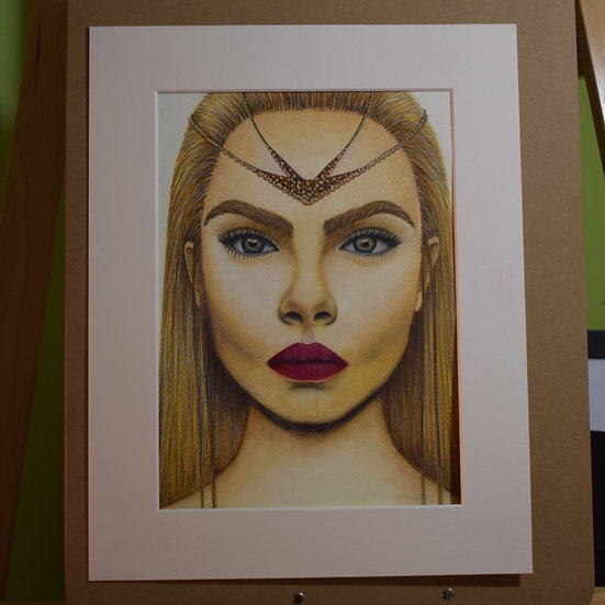 CARA DELEVIGNE PORTRAIT ORIGINAL WATERCOLOUR PAINTING