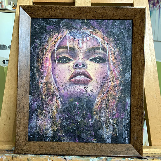 THE GALAXY ORIGINAL FRAMED ACRYLIC AND OIL PAINTNG