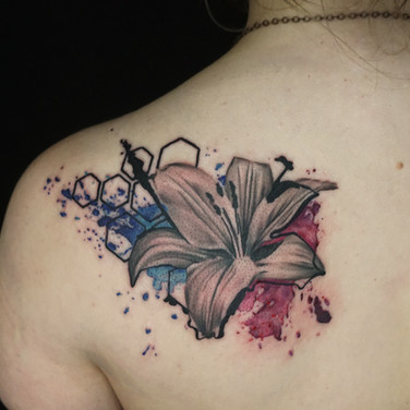 Hibiscus and hexagons