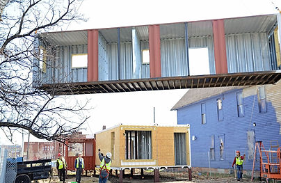 Containers being set for Model House
