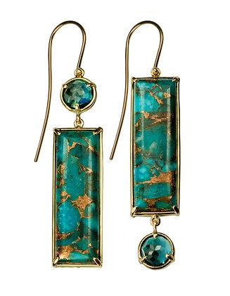 Kingman Turquoise & Blue Topaz Earrings