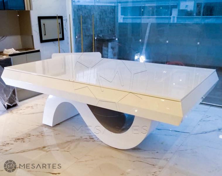 Dubai em Branco Brilhante com Tampo Jantar