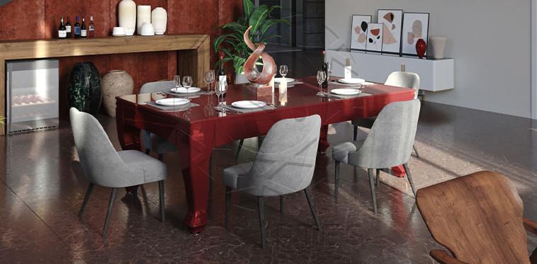 Dinamarca em Laca cor Vermelho Brilhante com Tampo Jantar