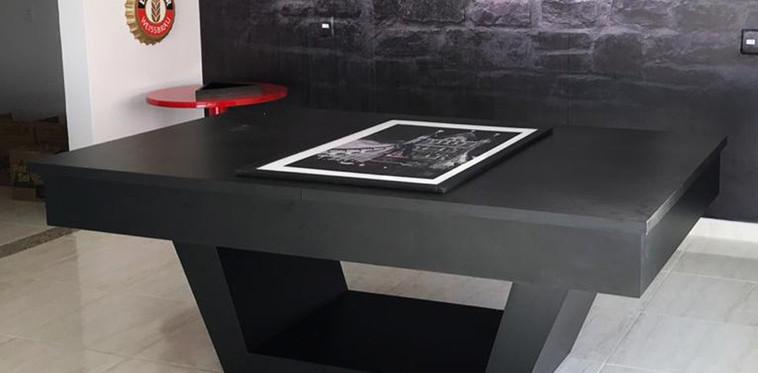 Londres em Material Melamínico Textura Preto Fosco com Tampo Jantar