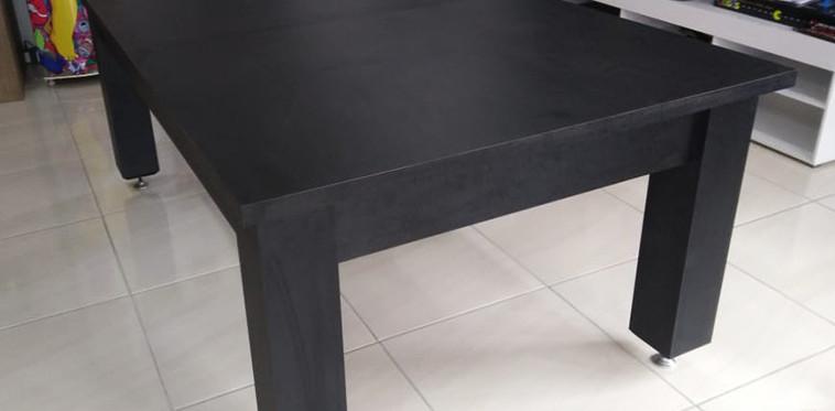 Toledo em Material Melamínico Textura Preto com Tampo Jantar