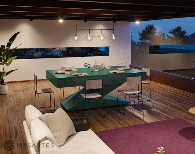 Zurique em Laca cor Ultramarine Green com Tampo Jantar
