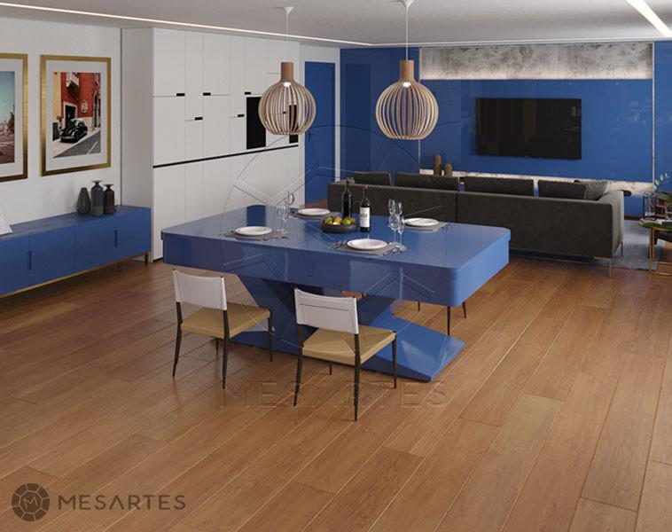 Verona em Laca cor Classic Blue Acetinado com Tampo Jantar