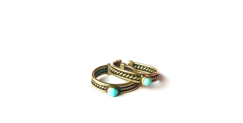 Bague ÑAUPA - Bronze - Turquoise