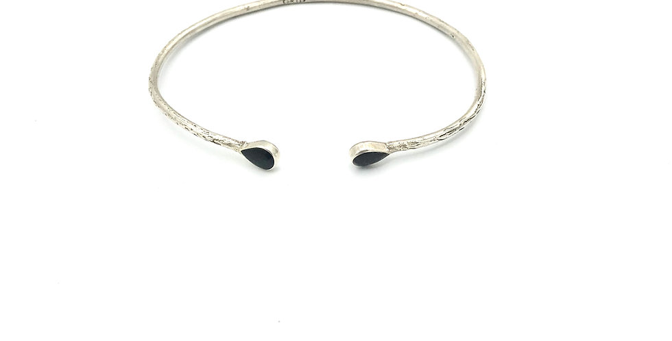 Bracelet GOTA - Onyx -Argent