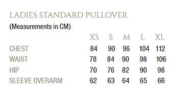 NorthSouth Size Chart XS - XL Measurements   Womens Standard Pullover