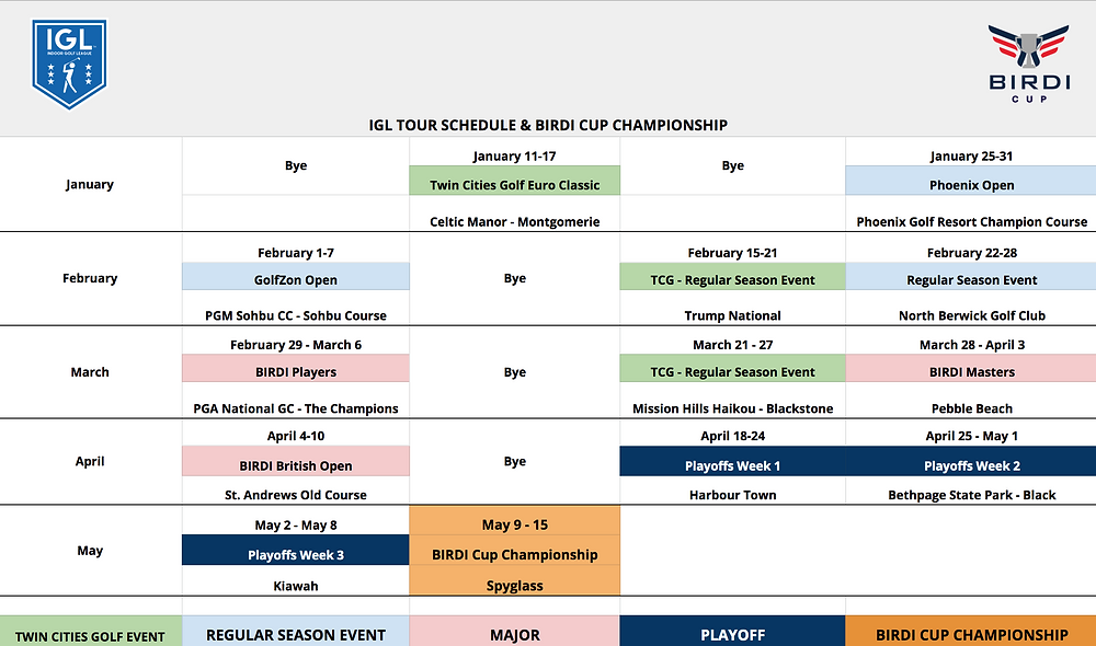 13 Event Schedule - 2020 IGL Season