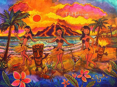 Sunset Hula Girls