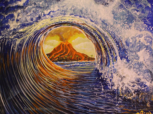 Wave With Volcano