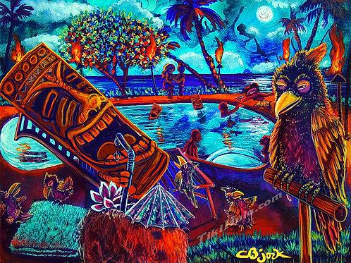 Tiki Relaxing Poolside