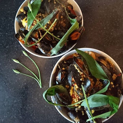 Shetland mussels, ramsons, giant cous cous, ancho chilli, preserved lemon