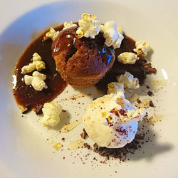 Homemade popcorn in action, stickey toffee pudding with organic cocoa nibs, butterscotch ice-cream,
