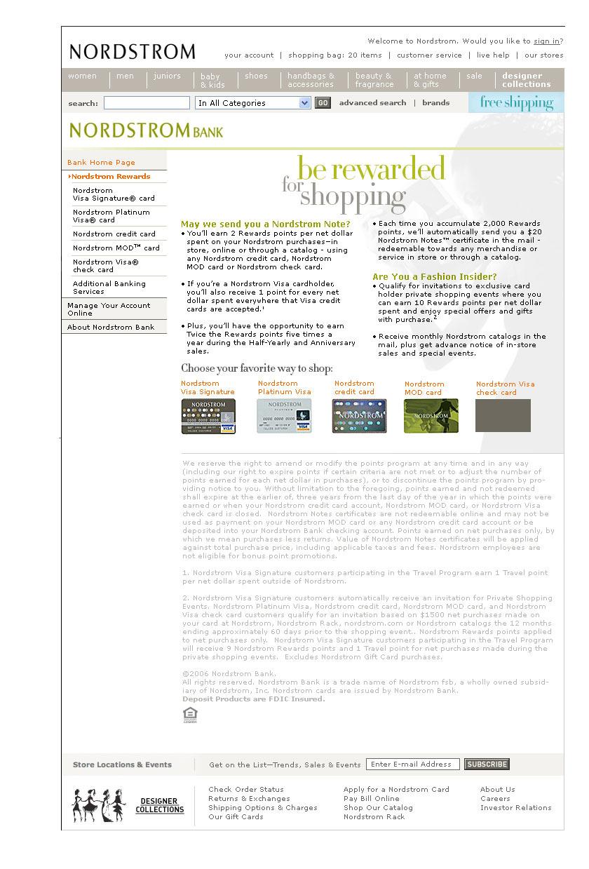 Nordstrom Rewards Page