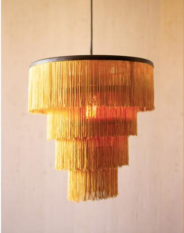 Gold Fringe Tiered Pendant Light