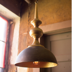 Metal Light with Antique Gold Finish