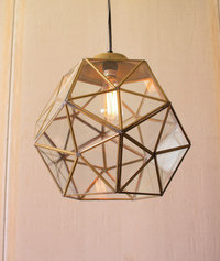 Glass and Antique Gold Metal Faceted Light
