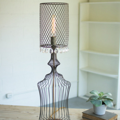 Small Wire Table with Perforated Metal Shade and Gems