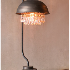 Metal Dome Table Lamp with Hanging Gems