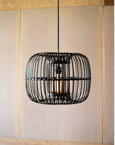 Round Black Bamboo Hanging Light