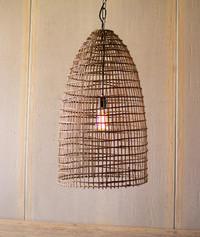 Woven Cane Dome Pendant Light