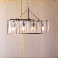 Rectangle Industrial Light with Glass Chimes