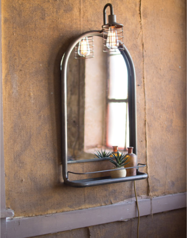 Wall Mirror with Shelf and Light