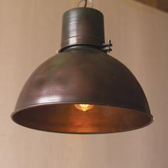 Metal Hanging Light with Green Patina