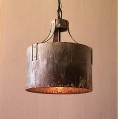 Rustic Metal Cylinder Light