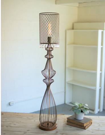 Large Wire Table Lamp with Perforated Metal Shade and Gems