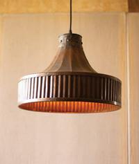 Corrugated Copper Pendant Light