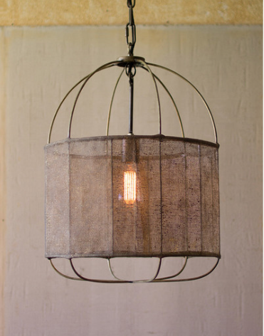 Drum Light with Fabric Shade