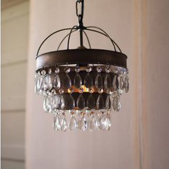 Pendant Lamp with Layered Shade of Gems