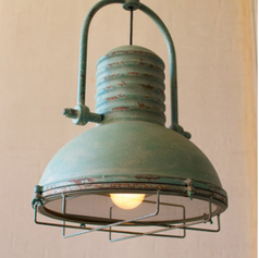 Antique Turquoise Light with Glass and Wire Cage