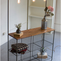 Triple Lighted Wall Display with Wire Cubbies and Wood Shelf