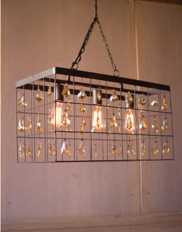Rectangle Light with Amber Gems