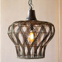 Rattan Bell Pendant Light
