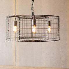 Double Barrel Wire Mesh Hanging Light