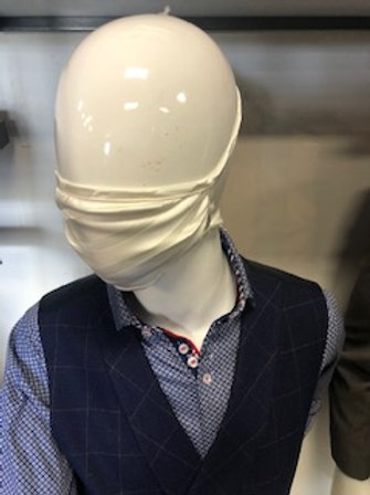 Ivory stripe Mask tie back with pocket