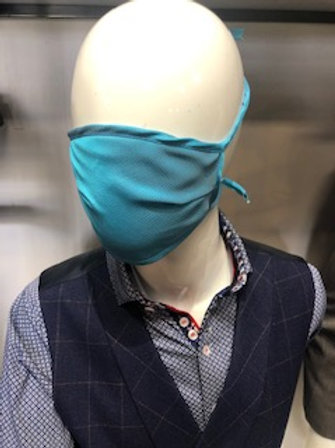 Turquoise solid Mask tie back with pocket