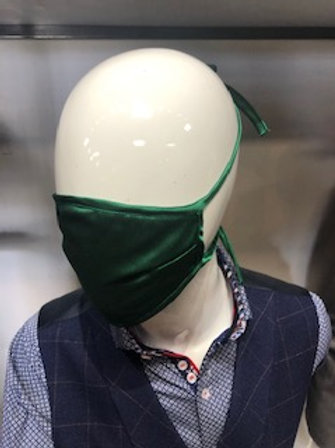 Dark Green Solid Mask tie back with pocket