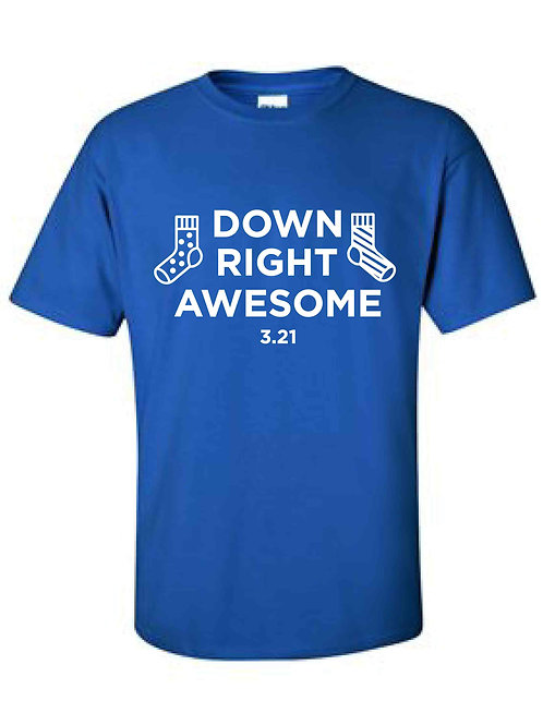Down Right Awesome Blue T-Shirt