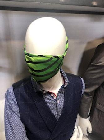 Green stripe Mask tie back with pocket