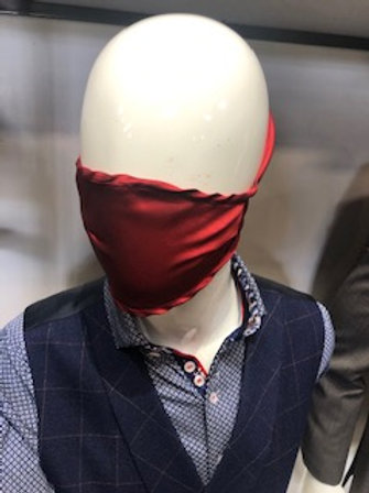 Red Solid Mask tie back with pocket