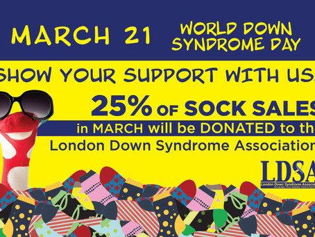 Collins to donate 25% of sock sales in March to the London Down Syndrome Association