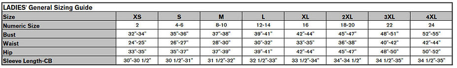 Ladies V-Neck Chart